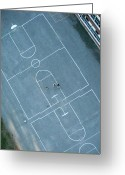 Aerial View Greeting Cards - Basketball Courts From Above Greeting Card by Rob Huntley