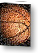 Hoops Greeting Cards - Basketball Mosaic Greeting Card by Paul Van Scott