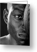 Basketball Greeting Cards - Basketball Player Close Up Portrait Greeting Card by Val Black Russian Tourchin
