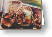 Frisco Pastels Greeting Cards - Baskets Greeting Card by Diana Moya