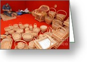 Wicker Baskets Greeting Cards - Basketwork Greeting Card by Gaspar Avila