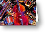 Abstract Music Greeting Cards - Bass And Friends Greeting Card by Debra Hurd