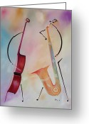 Jamming Painting Greeting Cards - Bass and Sax Greeting Card by Ikahl Beckford