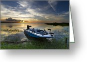 Sea Kayak Greeting Cards - Bass Fishin Evening Greeting Card by Debra and Dave Vanderlaan