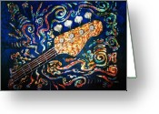 Cajun Greeting Cards - Bass Guitar  Greeting Card by Sue Duda