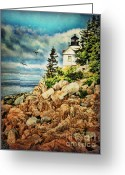 Lianne_schneider Fine Art Print Greeting Cards - Bass Harbor - Acadia NP Greeting Card by Lianne Schneider