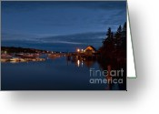 Bass Harbor Greeting Cards - Bass Harbor at night Greeting Card by John Greim
