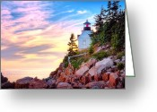 Bass Harbor Greeting Cards - Bass Harbor Head Light House  Greeting Card by Emmanuel Panagiotakis