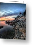 Desert Island Greeting Cards - Bass Harbor Head Lighthouse at Sunset Greeting Card by George Oze