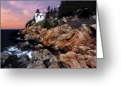 Lighthouse Artwork Greeting Cards - Bass Harbor Head Lighthouse In Maine Greeting Card by Skip Willits