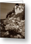 Bass Harbor Greeting Cards - Bass Harbor Head Lighthouse Greeting Card by Skip Willits