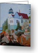 President Obama Greeting Cards - Bass Harbor Light Greeting Card by Francine Frank