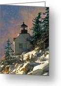Bass Harbor Greeting Cards - Bass Harbor Light in a Winter Storm Greeting Card by Brent Ander