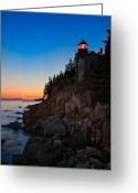 Bass Harbor Greeting Cards - Bass Harbor Lighthouse Maine Greeting Card by Steve Gadomski