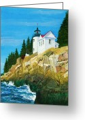 Bass Harbor Greeting Cards - Bass Harbor Lighthouse Greeting Card by Mike Robles