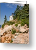 American Landmarks Greeting Cards - Bass Harbor Lighthouse Mt Desert Island Maine Greeting Card by Louise Heusinkveld