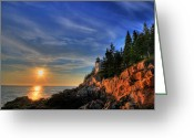 Bass Harbor Greeting Cards - Bass Harbor LightHouse Greeting Card by Sharon Batdorf