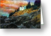 Bass Harbor Greeting Cards - Bass Harbor Lighthouse Sunset Greeting Card by Brent Ander