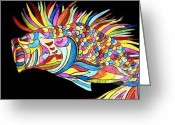 Fish Art Pastels Greeting Cards - Bass of Another Color Greeting Card by Claire Decker