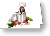 Hound Greeting Cards - Basset Hound Dog in Big Cooking Pot Greeting Card by Susan  Schmitz