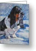 Tricolor Greeting Cards - basset Hound in snow Greeting Card by L A Shepard