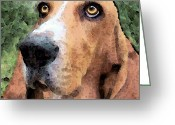 Brown Dogs Digital Art Greeting Cards - Basset Hound - Irresistible  Greeting Card by Sharon Cummings