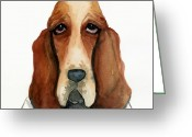 Hounds Greeting Cards - Basset Hound Greeting Card by Leanne Wilkes