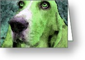 Rescue Animal Greeting Cards - Basset Hound - Pop Art Green Greeting Card by Sharon Cummings