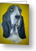 Dogs Pastels Greeting Cards - Basset Greeting Card by Katerina Novotna