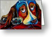 Veterinarian Greeting Cards - Bassett Has The Blues Greeting Card by Patti Schermerhorn