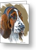 Pure Digital Art Greeting Cards - Bassett Hound Greeting Card by Larry Linton