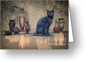 3d Graphic Greeting Cards - Bastet and Pottery Greeting Card by Jutta Maria Pusl
