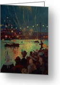 Fireworks Painting Greeting Cards - Bastille Day at Lorient Greeting Card by Henry Moret