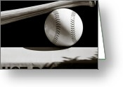 League Greeting Cards - Bat and Ball Greeting Card by David Bowman
