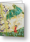 Flying Ceramics Greeting Cards - Bat with Woman in Red Dress Greeting Card by Samantha Henneke