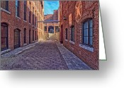 Cobblestones Greeting Cards - Bates Mill Lewiston Maine Greeting Card by Bob Orsillo