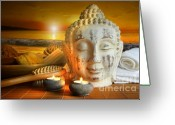 Beach Towel Photo Greeting Cards - Bath accessories with buddha statue at sunset Greeting Card by Sandra Cunningham