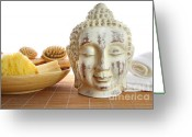Head Greeting Cards - Bath accessories with buddha statue Greeting Card by Sandra Cunningham