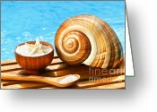 Beach Towel Photo Greeting Cards - Bath salts and sea shell by the pool Greeting Card by Sandra Cunningham
