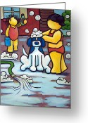 Bath Time Greeting Cards - Bath Time - Dog Greeting Card by Yvonne Lozano