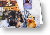 Shepherd Painting Greeting Cards - Bath time Greeting Card by Jai Johnson