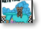 Lori Malibuitalian Greeting Cards - Bath Time Yorkshire Terrier Greeting Card by Lori Malibuitalian