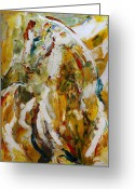Abstract Contemporary Art Greeting Cards - Bathed in Gold Greeting Card by Laurie Pace