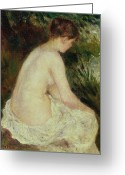 Nudes Greeting Cards - Bather Greeting Card by Pierre Auguste Renoir