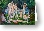 Carolinestreet Greeting Cards - Bathers A Generation of Woman Greeting Card by Caroline Street