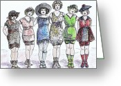Old Ladies Drawings Greeting Cards - Bathing Beauties Greeting Card by Mel Thompson