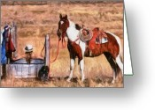 Cowgirl Greeting Cards - Bathing Cowgirl Greeting Card by Murphy Elliott