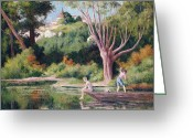Swimming Hole Greeting Cards - Bathing Greeting Card by Maximilien Luce