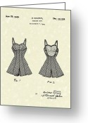 Patent Artwork Greeting Cards - Bathing Suit 1940 Patent Art Greeting Card by Prior Art Design