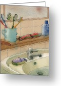 Water Drawings Greeting Cards - Bathroom Greeting Card by Kestutis Kasparavicius